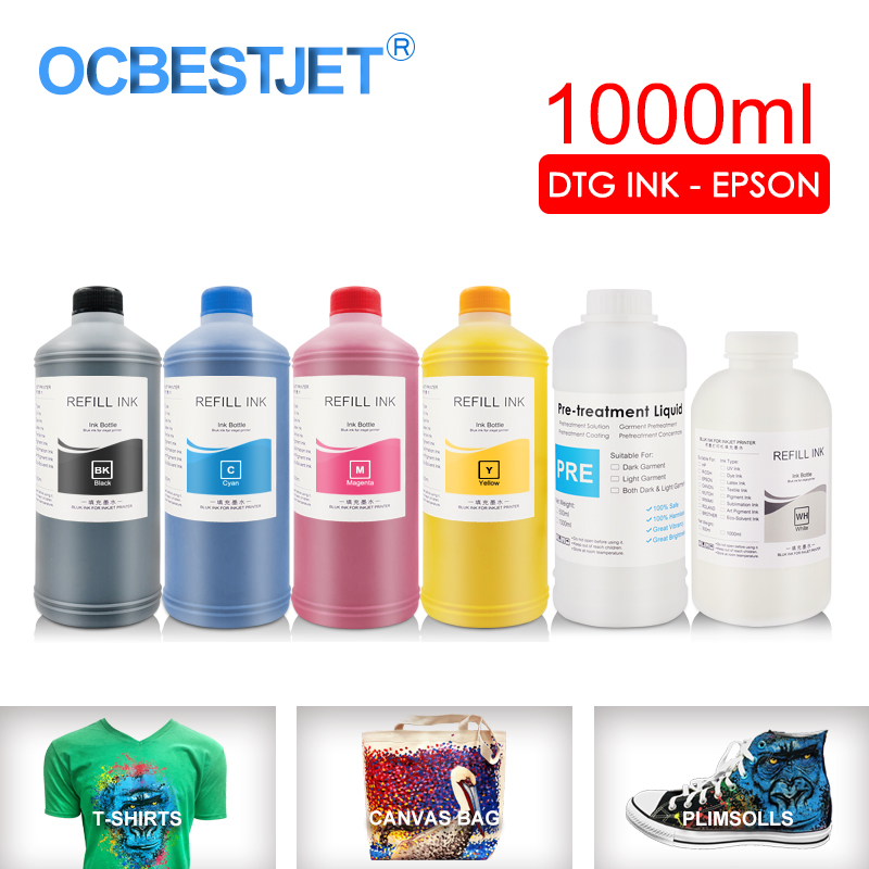 1000ML DTG Ink Textile InK Garment Ink For <font><b>Epson</b></font> DX5 DX7 R330 1390 1400 R1900 R2000 <font><b>F2000</b></font> F2100 (BK C M Y White Pretreatment) image