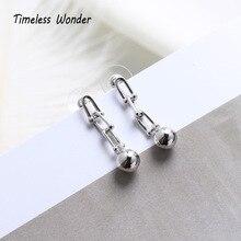 Timeless Wonder 925 Sterling Silver Geo Ball Chain Tassel Drop Earrings Women Jewelry Party Punk Gothic Boho Gift Kpop Ins 2329
