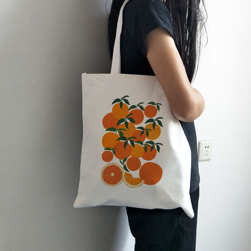 Orange Harvest Canvas Tote Bag For Women Cloth Cartoon White Shoulder Bag New Cute Shopping Bags Female Party Handbag