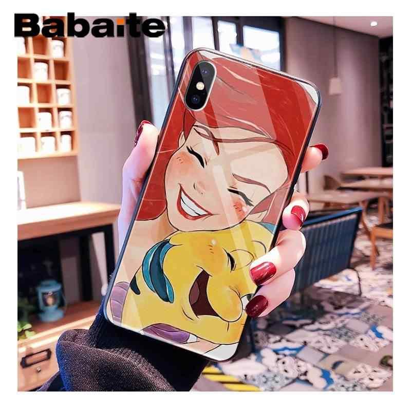 Babaite الكرتون ارييل ليتل حورية البحر فتاة جميلة إطار زجاجي قوي للهاتف المحمول آيفون XR XS ماكس X 7 8 6S زائد 11 11Pro 11Pro ماكس