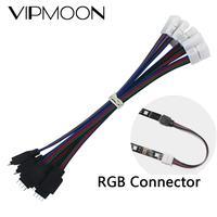 Tira de luces LED RGB de 15cm y 4 pines, Cable de extensión, extensión de la tira led, Clip de Cables, venta al por mayor y envío directo, 5050, 3528, 5 uds.