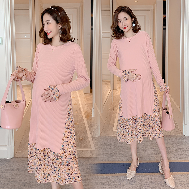 1936# Sweet Floral Chiffon Pathcwork Knitted Maternity Party Dress Spring Korean Fashion Clothes For Pregnant Women Pregnancy