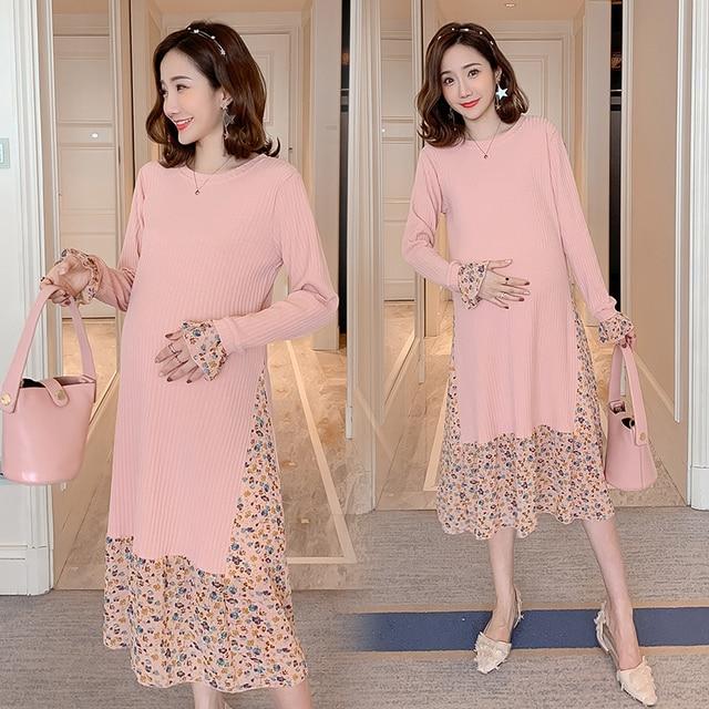 1936 # süße Floral Chiffon Pathcwork Gestrickte Mutterschaft Party Kleid Frühling Koreanische Mode Kleidung für Schwangere Frauen Schwangerschaft