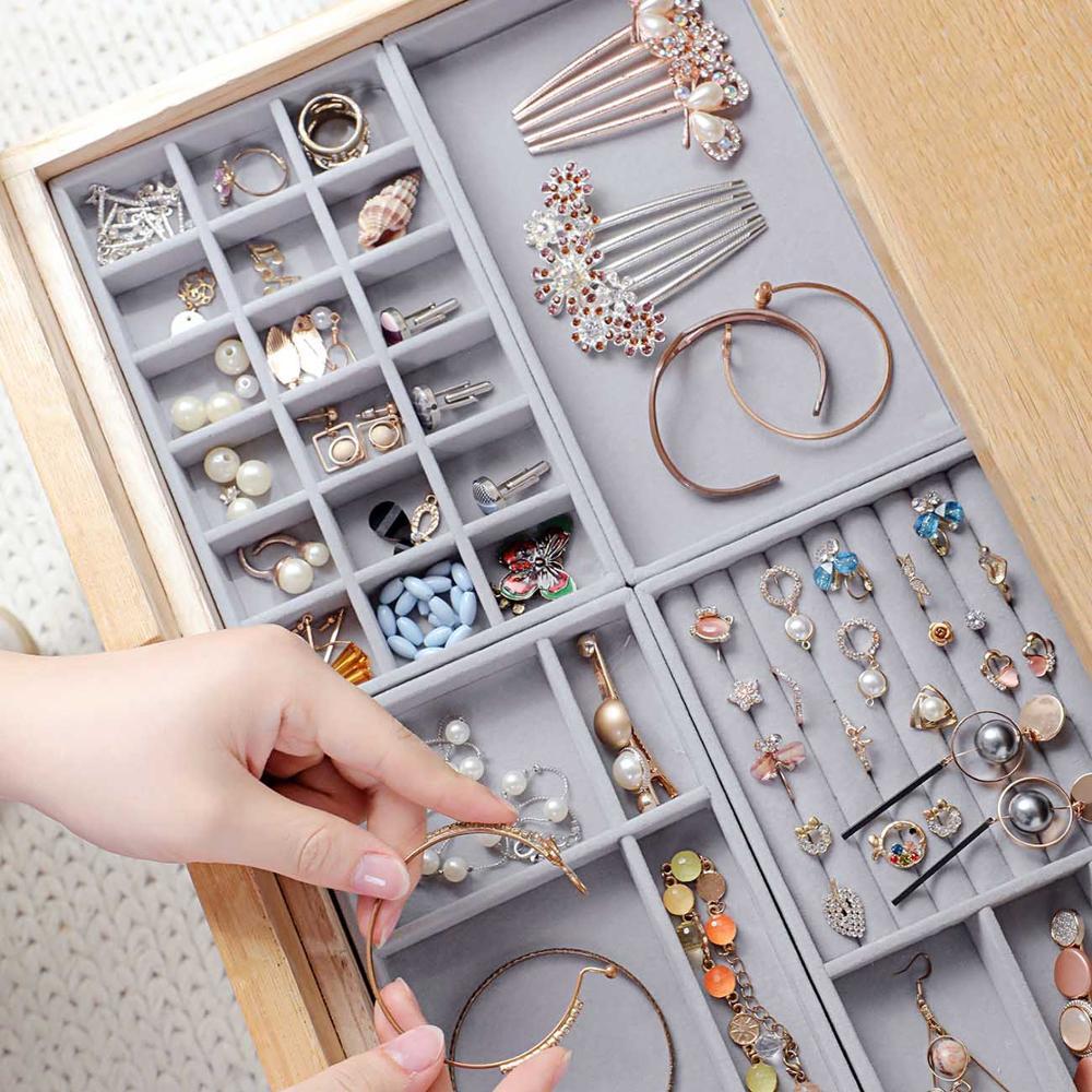 4pcs/set High Quality Jewelry Box Drawer Organizer Velvet Earring Necklace Pendant Bracelet Tray Showcase Jewellery Organzier