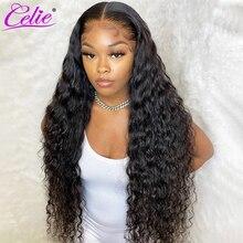 Celie Peluca de cabello humano con ondas profundas para mujer Peluca de cabello humano con encaje Frontal, prearrancada, 28 y 30 pulgadas, 360