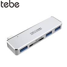 tebe USB 3.1 Type-C Hub USB 3.0 TF/SD Card Read 5-in-1 Multi-Function Converter For MacBook