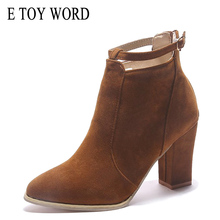 E TOY WORD Women shoes Autumn Boots comfortable Pointed Toe High Heels Ankle boots Women Botas Shoes Mujer Zapatos size 34-40