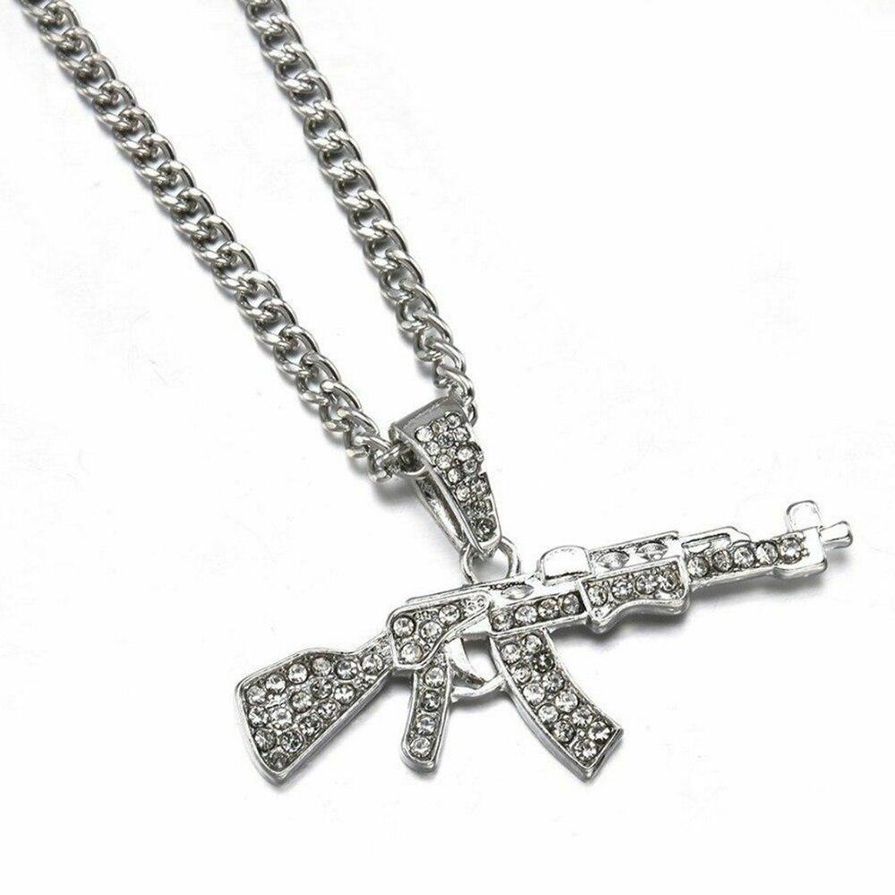 Collane girocollo moda per donna ciondolo pistola collana con strass di cristallo collana donna uomo catene Punk regalo gioielli 2