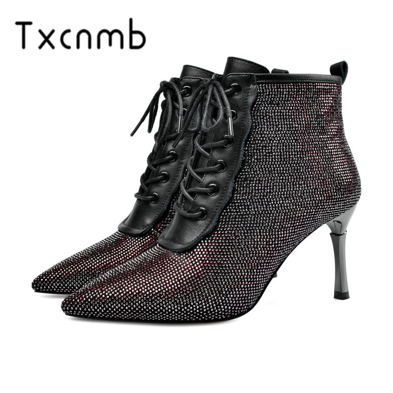 TXCNMB Pointed Toe Microfiber Leather All Match Women Shoes Autumn Winter Sexy Thin High Heel Zipper Ankle Boots Big Size 34 40