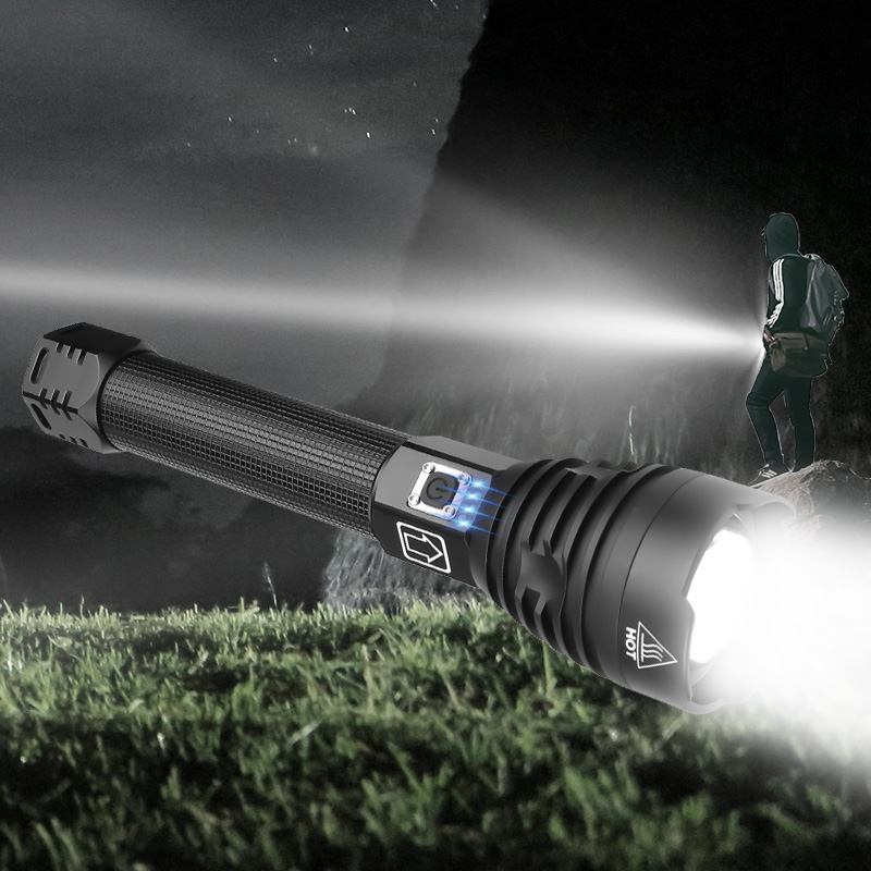 Купить с кэшбэком Super Powerful Xlamp XHP70.2 XHP90 LED Flashlight LED Torch USB XHP50 Lamp Zoom Tactical Torch 18650 26650 Rechargeable Battey