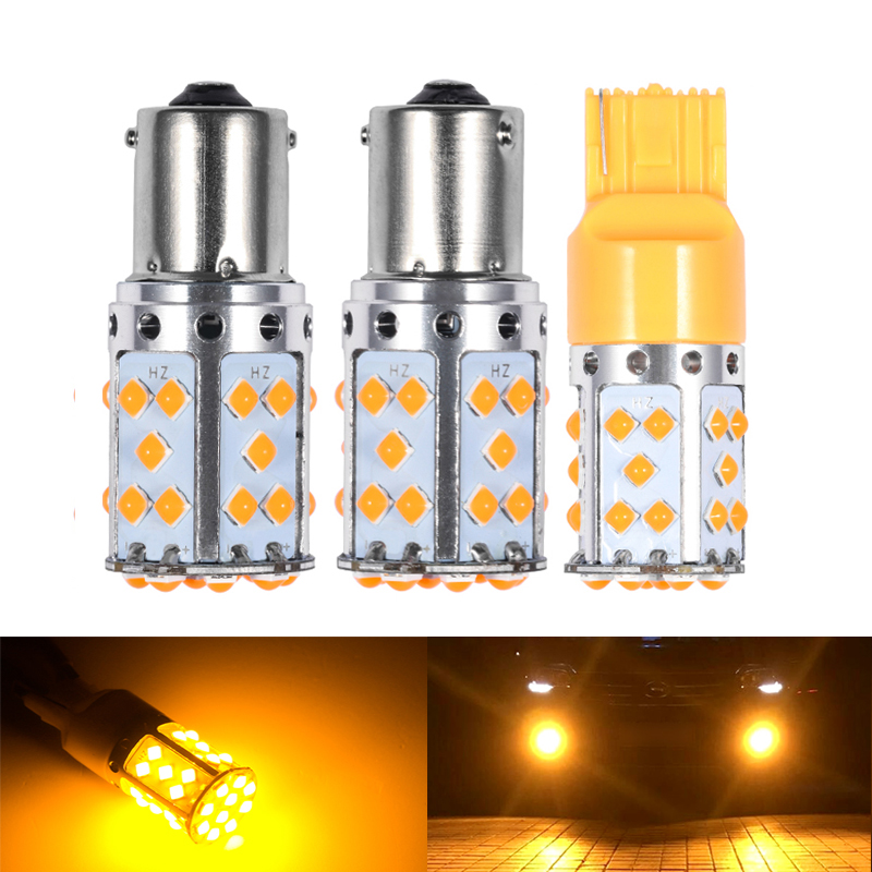 2Pcs T20 7440 WY21W <font><b>Led</b></font> Bulb 1156 BAU15S <font><b>PY21W</b></font> BA15S P21W <font><b>LED</b></font> Lamp For Car Turn Signal Lights <font><b>Orange</b></font> Amber Color 6000K White image