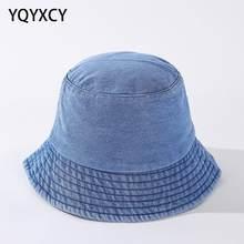 YQYXCY seau chapeau femmes hommes lavé Denim Cowboy pêcheur casquette rétro mode décontracté bleu Bob chapeau femme automne printemps Vintage nouveau