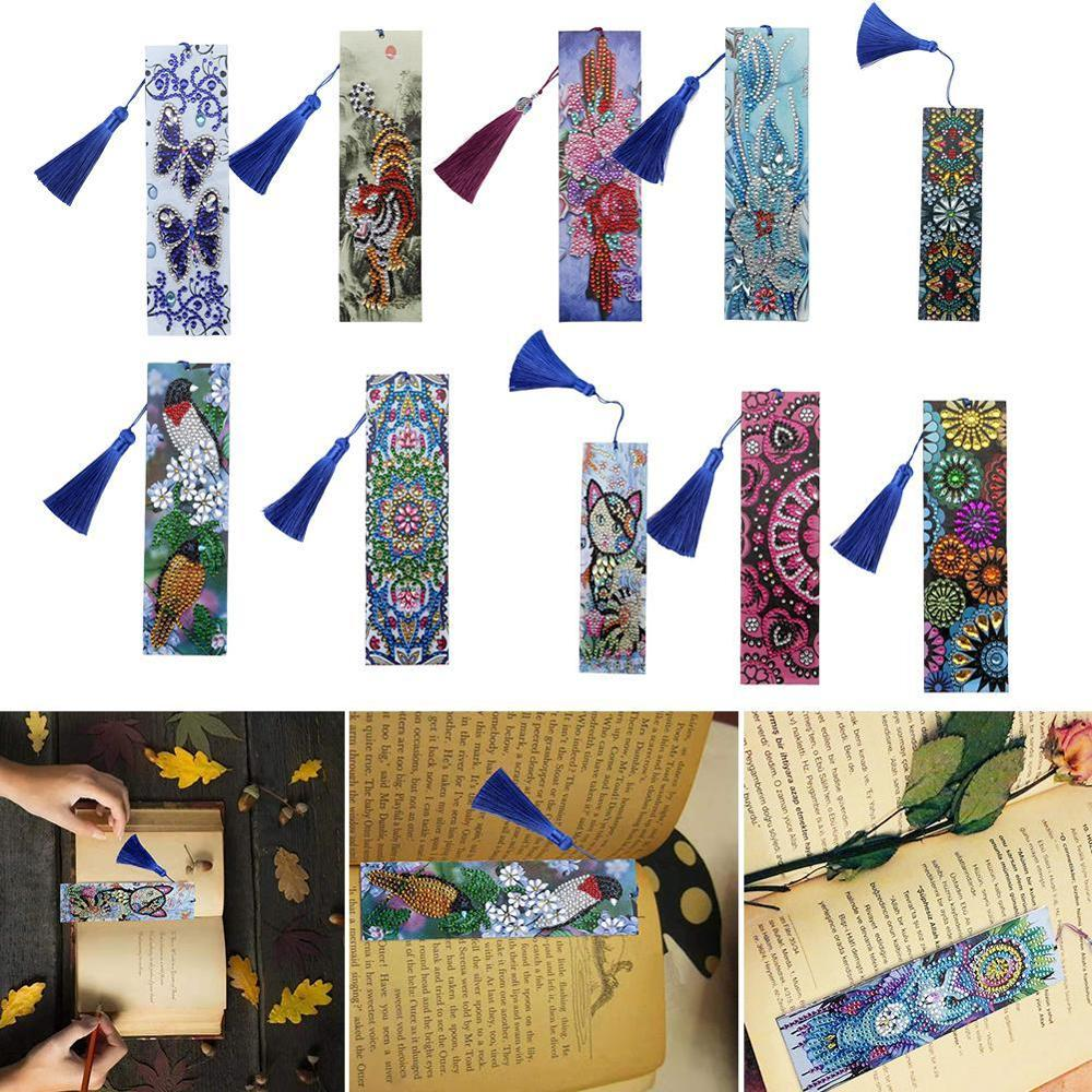 DIY Special Shaped Diamond Painting Leather Bookmark Tassel Book Marks Book Page Mark For Books Christmas Gift