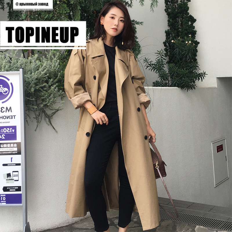 Hot Fashionable Khaki Trench Coat Casual Women's Long Outerwear Loose Clothes For Lady With Belt Autumn Winter Windbreaker Cloak