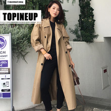 Hot Fashionable Khaki Trench Coat Casual Women's Long Outerwear Loose Clothes for Lady with Belt Autumn Winter Windbreaker Cloak khaki trench coat with self tie belt