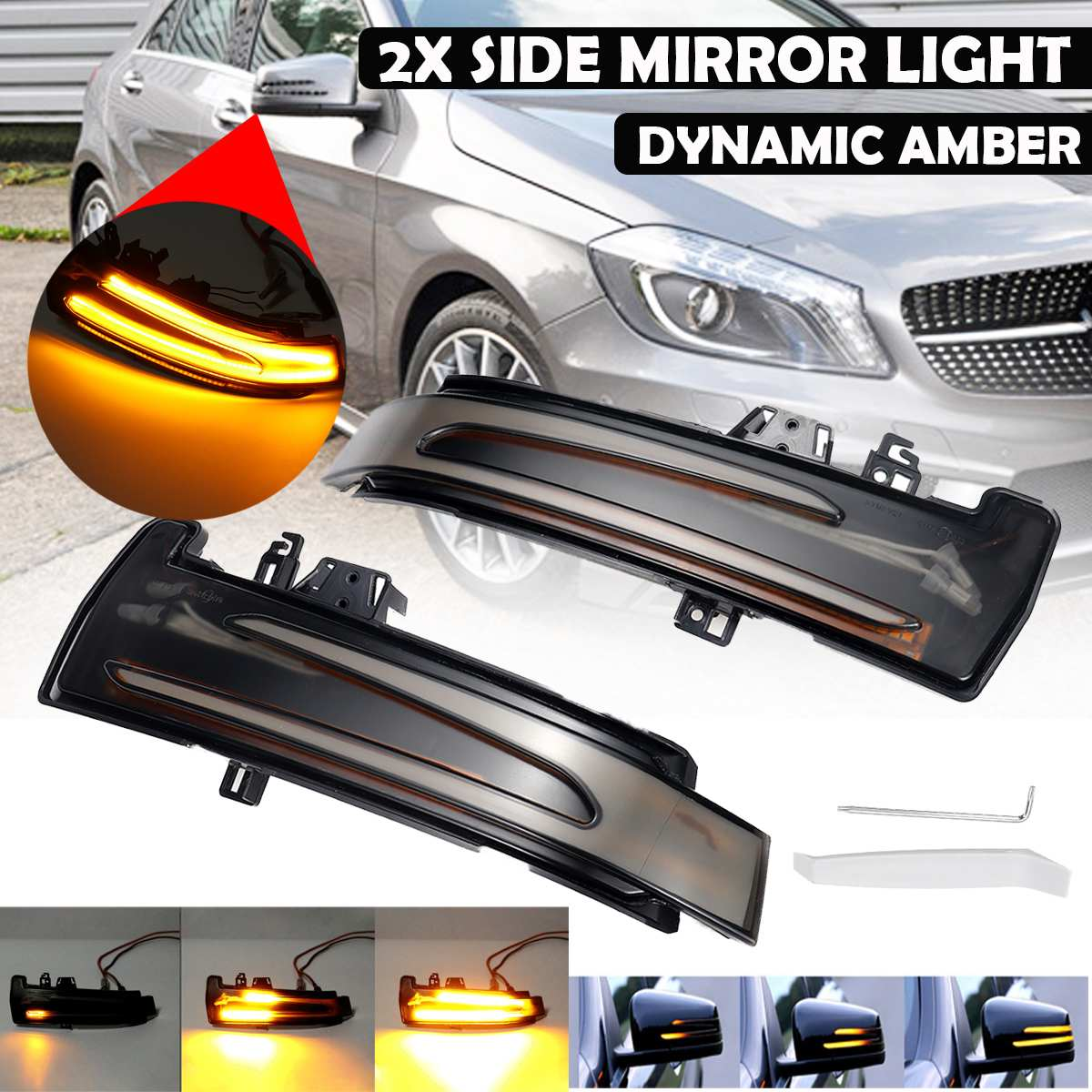 2pcs Flowing Turn Signal Light LED Side Wing Rearview Mirror Dynamic Indicator Blinker For Mercedes For Benz A B S C E GLA GLK