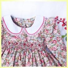 Crianças meninas smocking vestidos de manga longa vestidos de princesa floral para meninas batismo floral imprimir roupas vestidos de festa para a menina