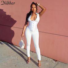 Nibber Sexy fashion zipper bez rękawów długa, obcisła kombinezony damskie 2020 sportowy Casual solidna slim Fitness workout kombinezon mujer