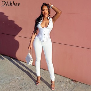 Nibber Sexy fashion zipper sleeveless Skinny long Jumpsuits Women 2020 Sporty Casual solid slim Fitness workout Jumpsuit mujer
