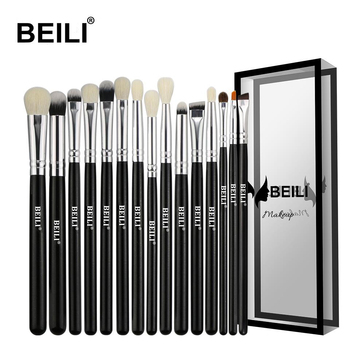 BEILI Black 15Pcs Makeup brushes Natural Goat Pony hair Eye shadow Blending Eyeliner Eyebrow Smokey shade brush set