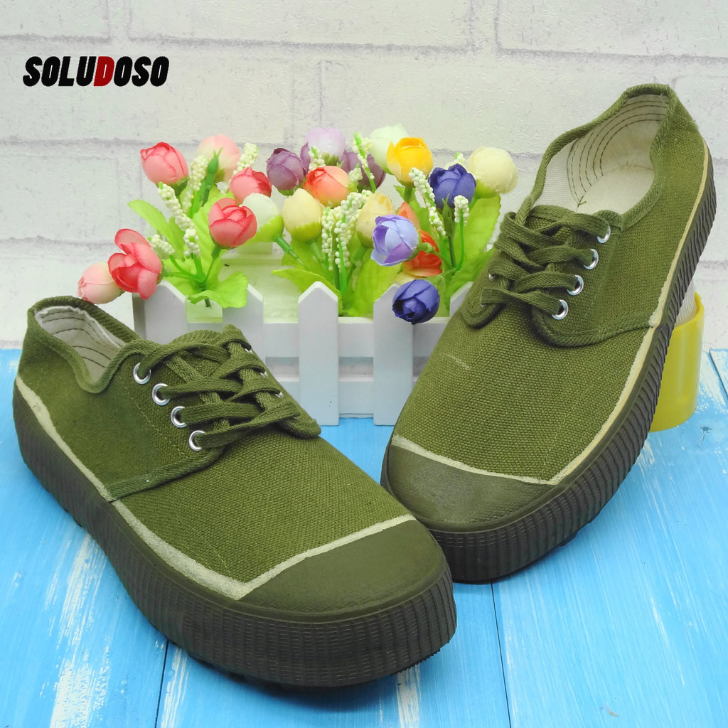 Couple Women Men Canvas Shoes Low Top Non-Slip Army Green Liberation Training Shoes