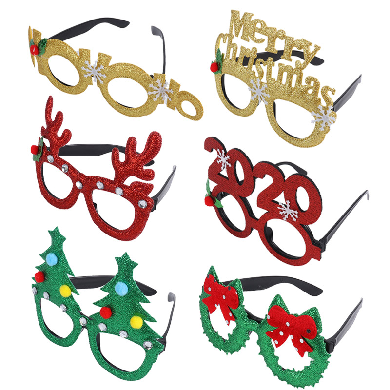 Christmas Glasses Photo Booth Props Frame Santa Snowman Antler Glasses Adult Children New Year Gifts Festival Decoration Kerst