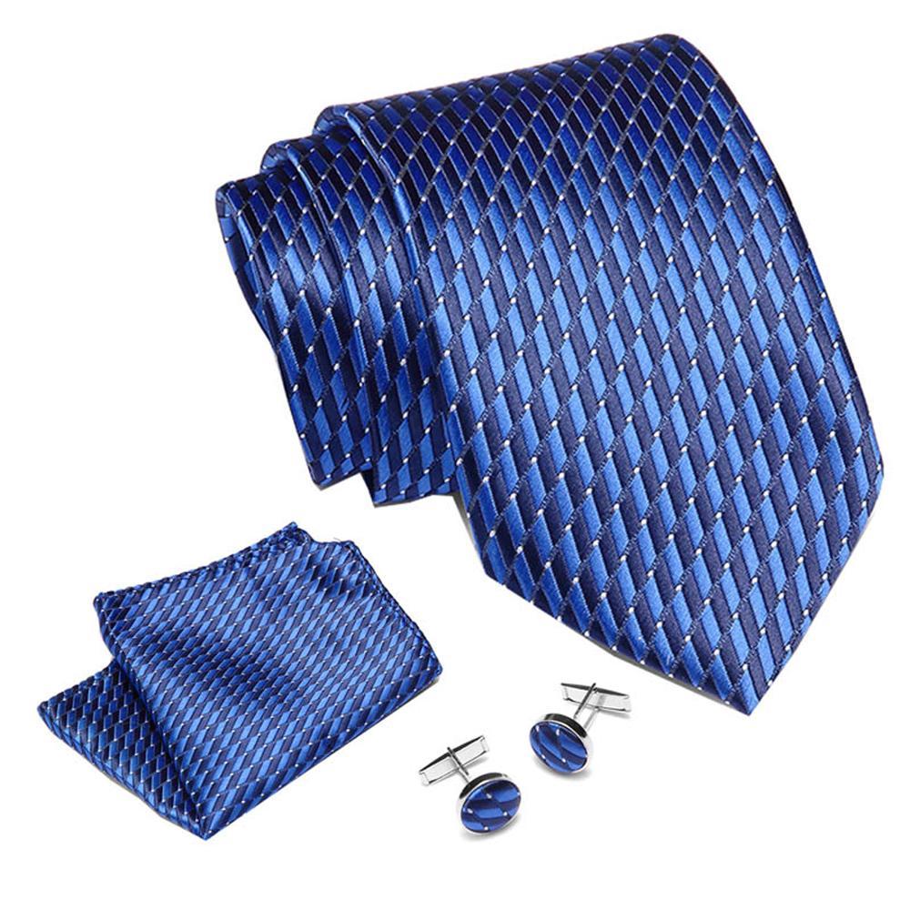 Luxury Mens Skinny Neck Tie Blue Plaids Stripes Dots Jacquard Woven 100% Silk 7.5 Cm Necktie Wedding Party Ties Set For Mens