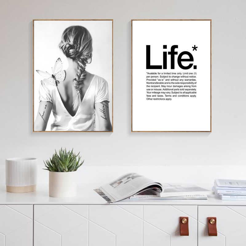 Nordic Poster siyah ve beyaz kız tuval boyama yaşam tırnaklar duvar resimleri soyut sanat posterler ve baskılar ev dekor çerçevesiz