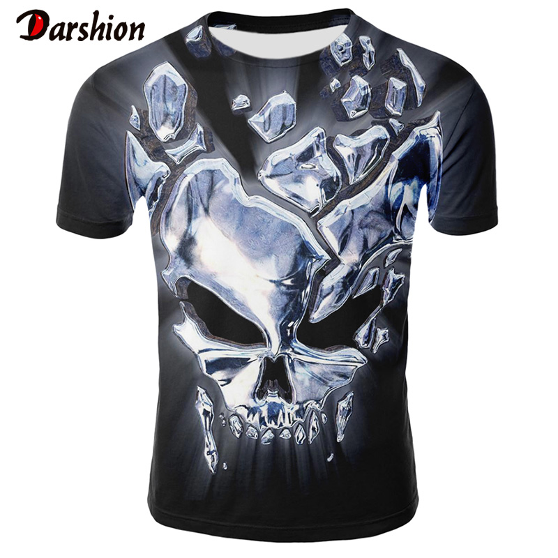 2019 New Skull 3D T Shirt Men Tshirt Print Cool Skull Punk Summer Tops Casual Tees Short Sleeve Streetwear Tops