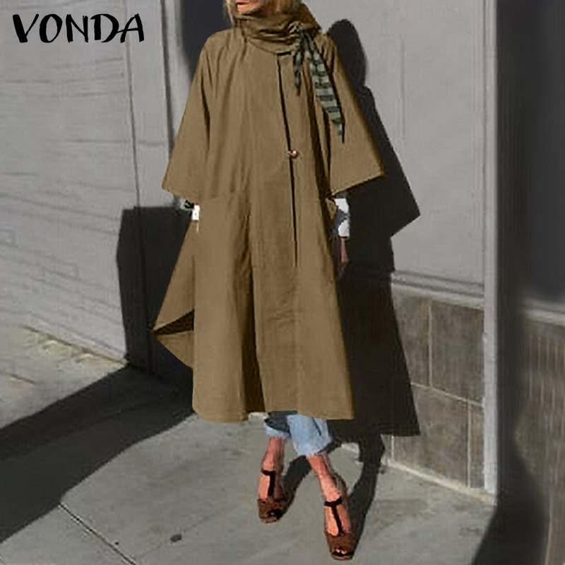 VONDA 2021 Casual 3/4 Sleeves O Neck Solid Jackets Autumn Cotton Long Coats Loose Fashion Outerwear Kleid Plus Size Women Coats
