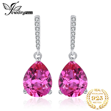 JewelryPalace Luxury 7ct Created Pink Sapphire Drop Earrings 925 Sterling Silver Fine Jewelry Water For Women Gift