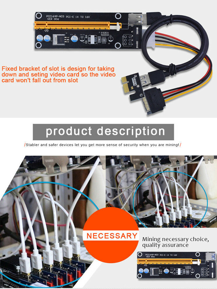 006 PCI-E Riser Card USB 3.0 Riser Express 1X 4x 8x 16x Extender Adapter SATA 15pin to 4pin Power Cable for BTC Mining Miner-2