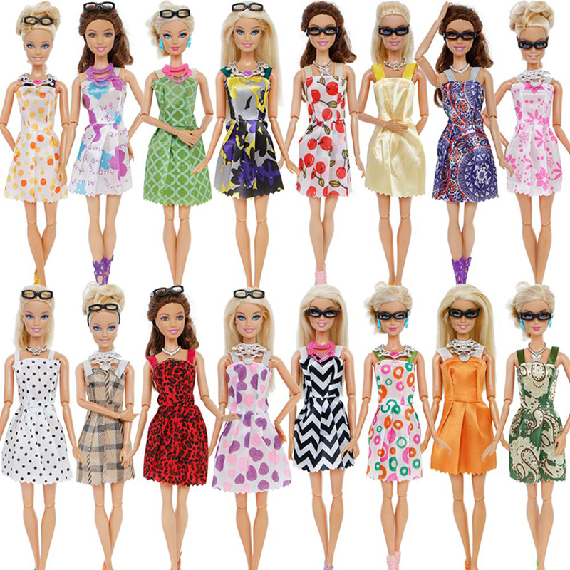 2020 Hot 20 Item/Set Doll Accessories 10x Mix Fashion Cute Dress + 4x Glasses+ 6x Necklaces Dress Clothes For Barbie As Gift