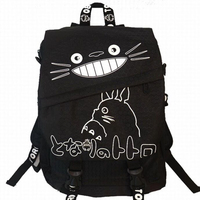 2019 New Fashion Girls Anime Miyazaki Hayao Totoro Cute Black Canvas Bag Women School Bag Gift Lady Cartoon Backpack