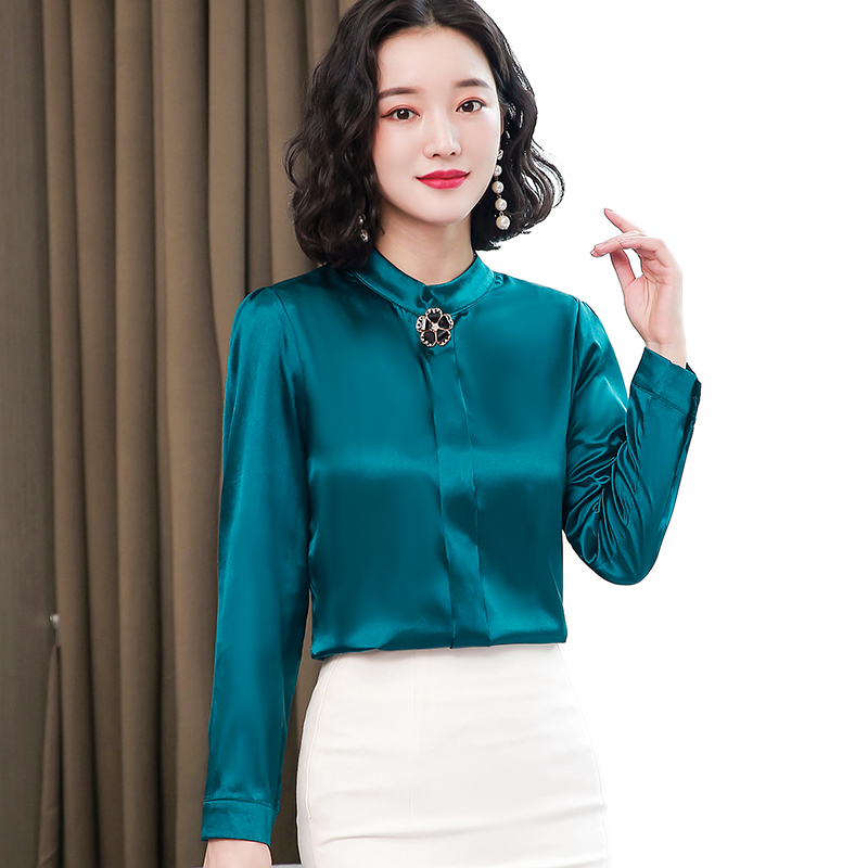 Korean Silk Women Blouses Woman Satin Silk Blouse Shirt Women Vintage Long Sleeve Shirts Ladies Satin Blouses Tops Plus Size 4XL