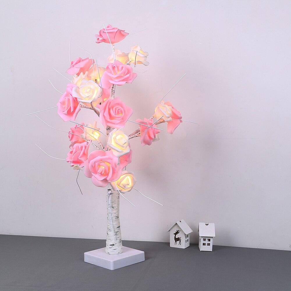 USB ou à piles arbre lumière LED veilleuse tactile interrupteur LED table arbre lumière LED Rose fleur arbre lumière D25