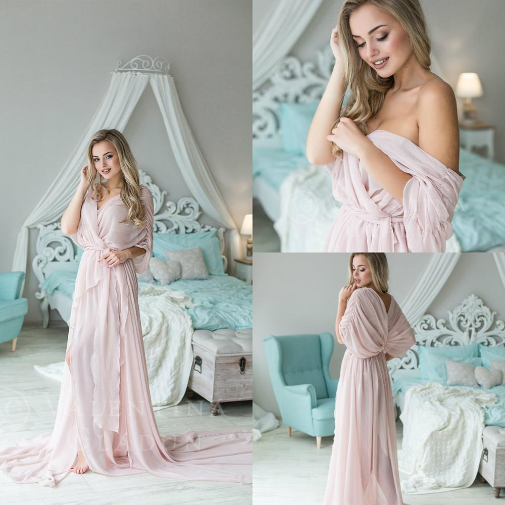 Pink Off The Shoulder See Through Women Night Robes Custom Made Sash Lace Chiffon Nightgowns Robes Women Sleepwear