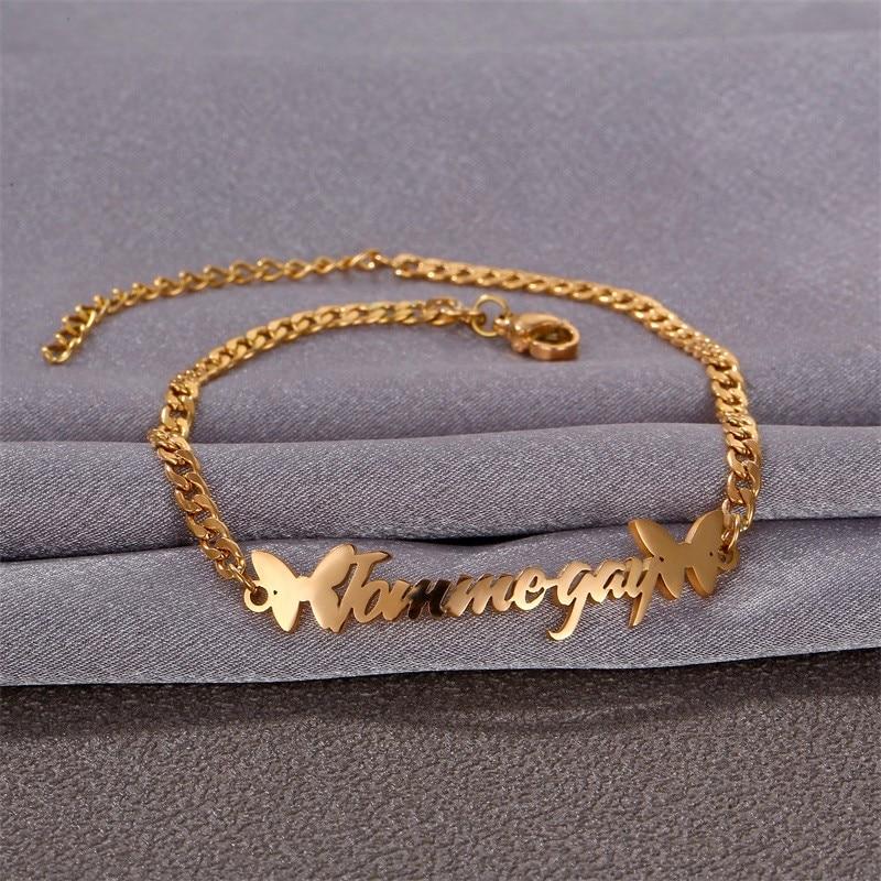 Браслет на лодыжку для мужчин и женщин с именем на заказ, модный браслет из нержавеющей стали с бабочкой, с индивидуальной табличкой, подаро...