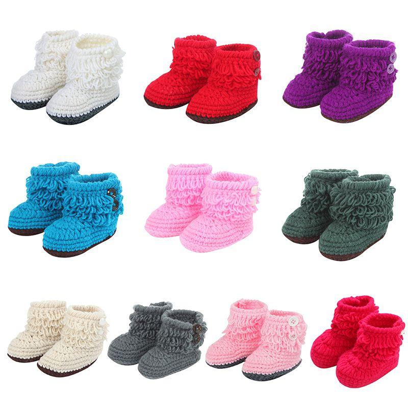 Handmade Boots Newborn Baby Crib Shoes Infant Boys Girls Crochet Knit Winter Warm Booties