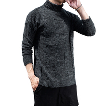 New Arrival MensCasual Elastic Turtleneck Thick Warm Pure Color Fashion Brand Male Comfortable Knitting pullovers Size M-3xl