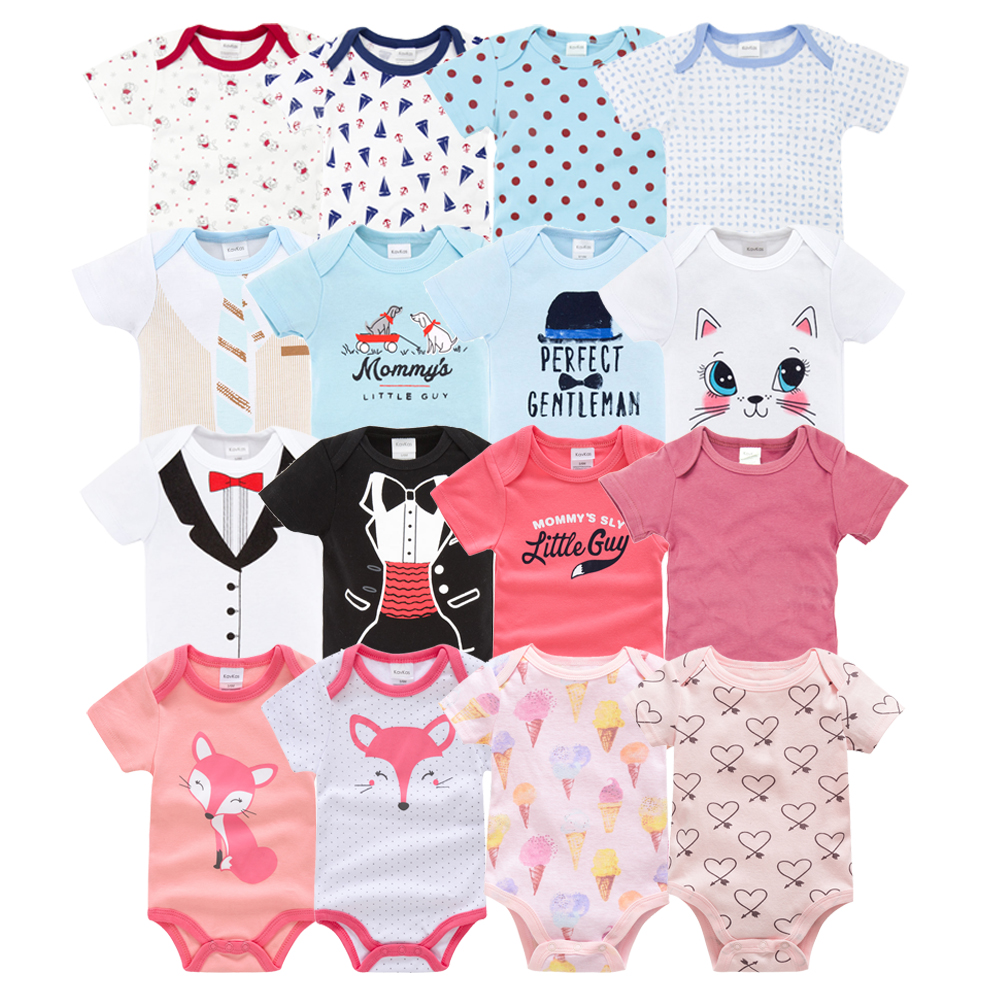 7pcs/set Summer Baby Girl Clothes Short Sleeve Knitted Cotton Fox Cartoon Print Body Bebe Boy Bodysuit Daddy  Twins Baby Clothes