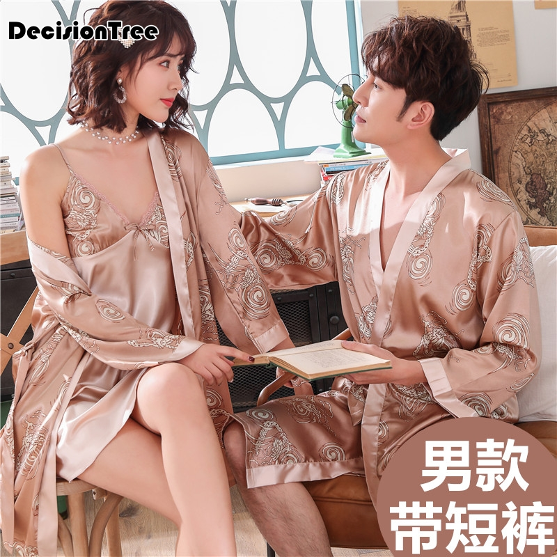 2020 men black lounge sleepwear faux silk nightwear for men comfort silky bathrobes noble dressing gown men's sleep robes