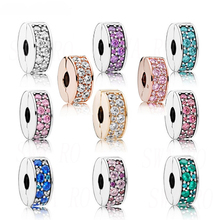 New Fashion Personality Charm 100% Genuine 925 Glitter Elegant Holder Clips Various Colors Diy Original Female Accessories
