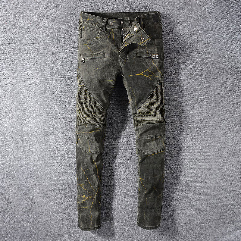 2019 New Style New Men Jeans,Army Green Color High Quality Patchwork Casual Pants Slim Fit Streetwear Stretch Biker Jeans Men