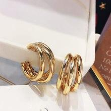 Pendientes de Metal de 3 capas de Color dorado y plateado para mujer, aretes geométricos de circulación, redondo para bodas, pend