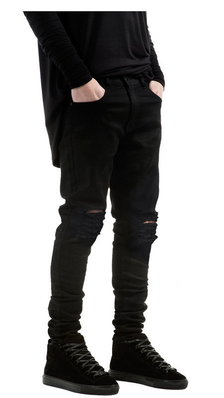 Europe And America High Street-Style With Holes Jeans Destroyed Denim JEANS Skinny Elasticity Men And Women Jeans