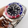 Бизнес Стиль стерильные из нержавеющей стали 40 мм Мужские часы с сапфировым стеклом Авто Дата сплав ободок светящиеся знаки