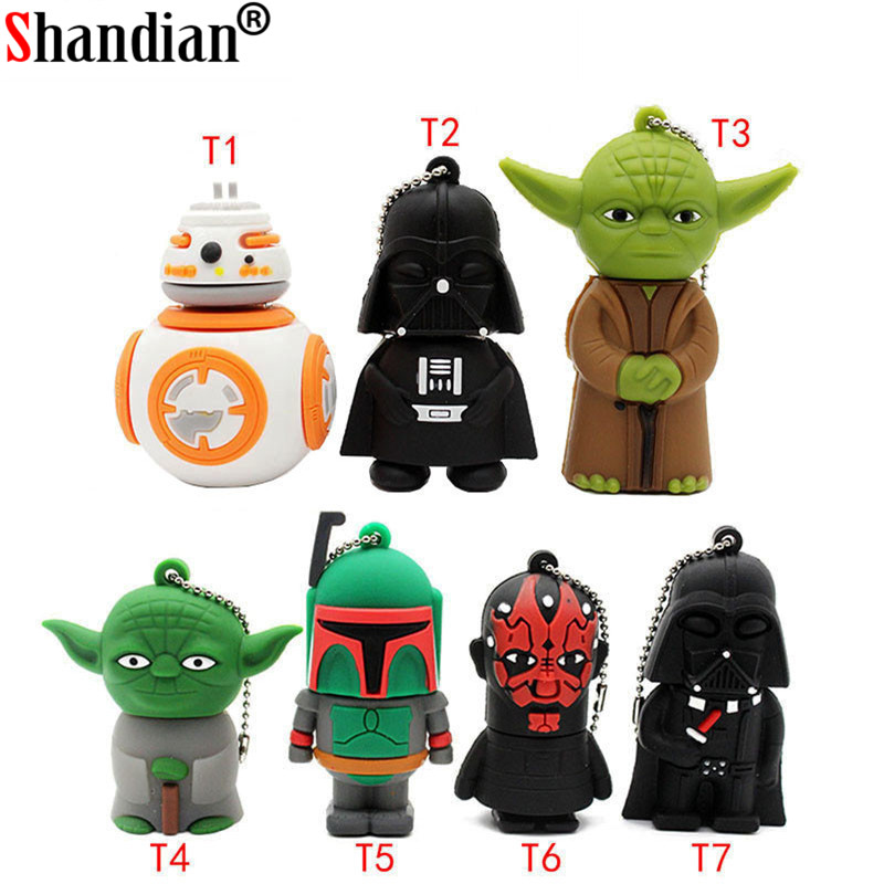 SHANDIAN Usb Flash Drive Gifts Star Wars Pen Drive 4gb 16gb 32gb 64gb Star War Darth Vader Drive Flash Usb Pendrive Memory Stick