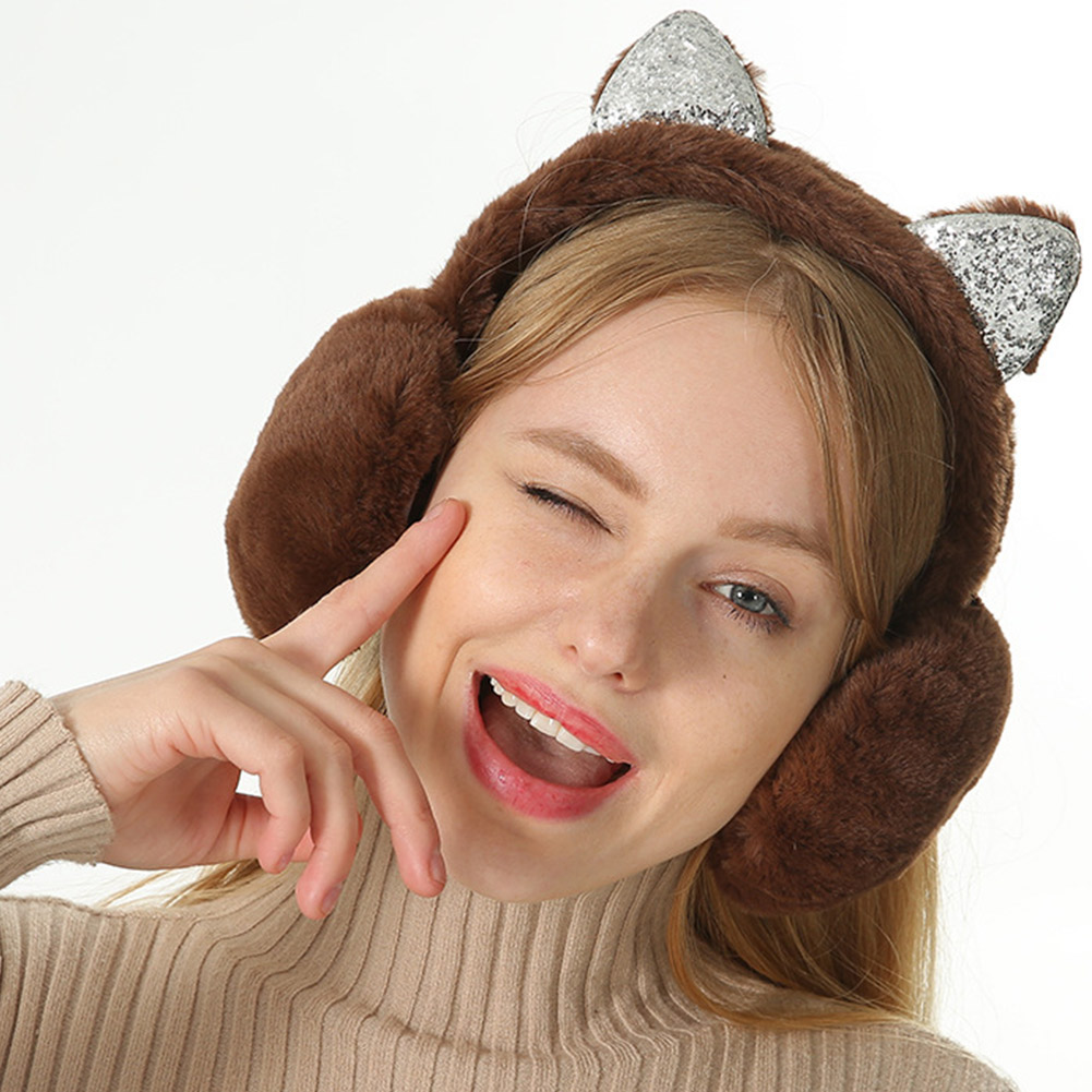 Women Earmuffs Cartoon Cat Ears Windproof Ears Warm Adjustable Earmuffs JL