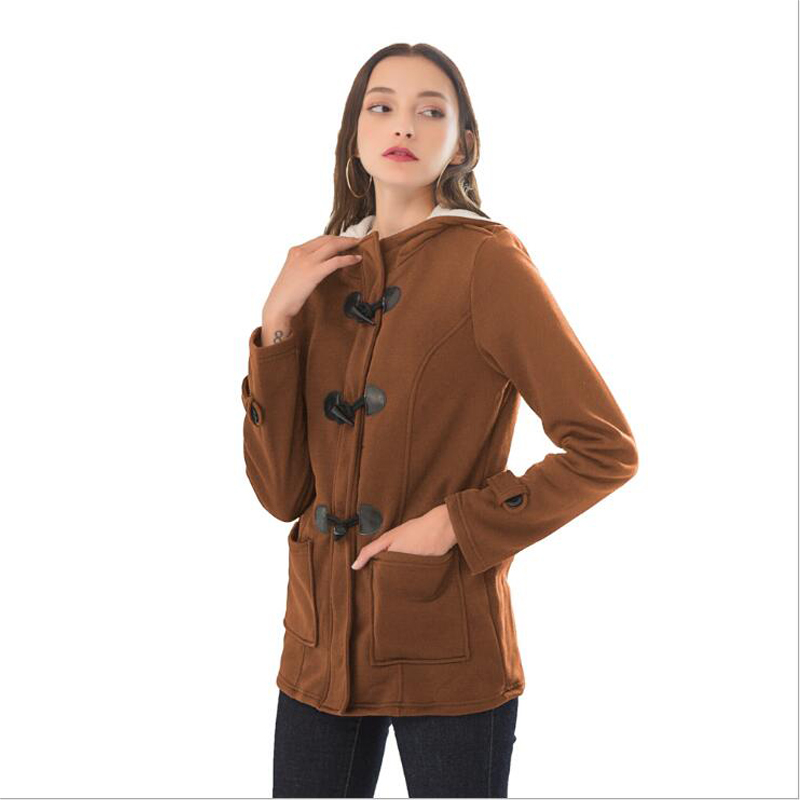 Women Basic Jackets 2019 Camel Coat Spring Autumn Women's Overcoat Zipper Horn Button Outwear Jacket Female Hooded Coat  S-5XL